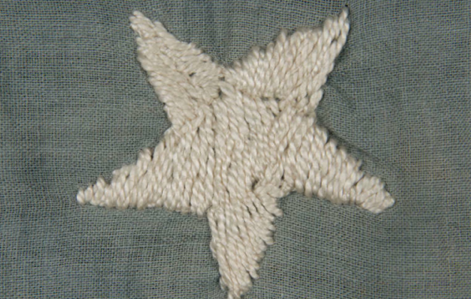 Hand embroidered 45 star